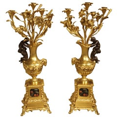 Superb Pair of Antique Bronze Doré Candelabras, Victor Paillard, circa 1850