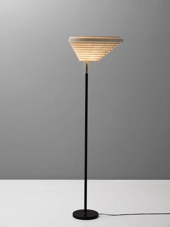 Floor Lamp Model A805 U0027Angel Wingu0027, In Metal, Leather And Brass,