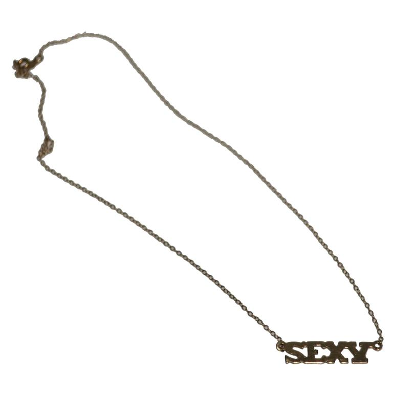 'Sexy' Nameplate Necklace in 14-karat Gold, ca. 1970s