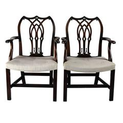 English Set of Ten George III Carved and Upholstered Dining Chairs