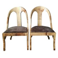 Pair of Exceptional Enrique Garcel Goatskin Spoon Back Chairs