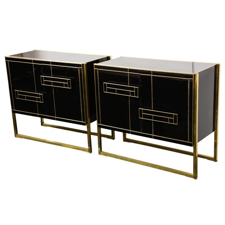 One of a Kind Signed Pair of Black Glass and Brass Cabinets For Sale