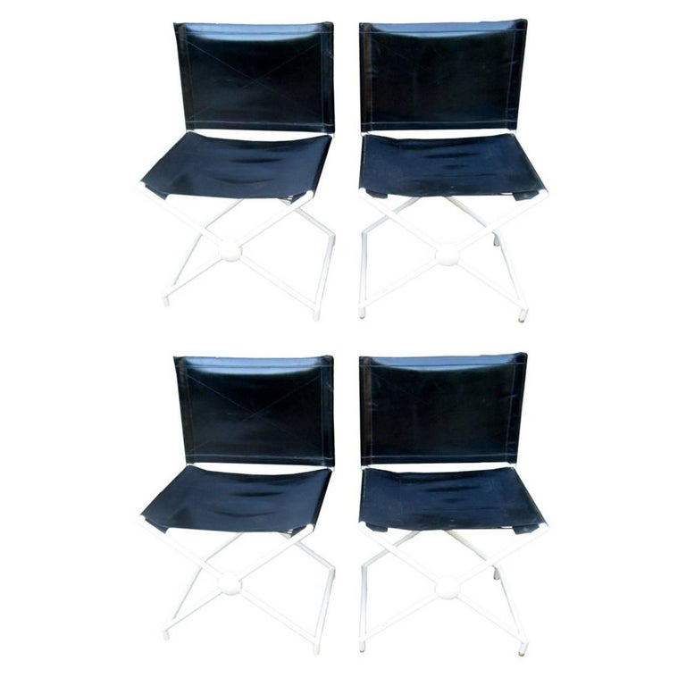 Set of 4 Maison Jansen Campaign Style Chairs