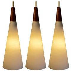 Three Cone Shaped White Satin Glass and Teak Pendant Lights, Finland, 1960's