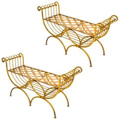 Pair of Gilt Iron Italian Benches