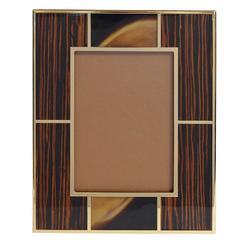 "Brown Macassar Photo Frame with Buffalo Horn for 5"" x 7"" by Fabio Ltd"