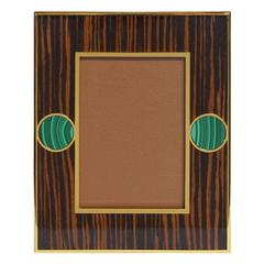 "Brown Macassar Photo Frames with Malachite for 5"" x 7"" by Fabio Bergomi"