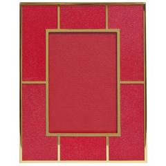 "Rectangular Red Shagreen Gold-Plated Photo Frame for 5"" x 7"" by Fabio Ltd"