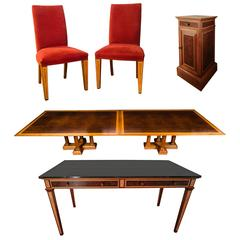 Walnut Dining Table Together with 14 Red Chairs, a Marble Side Table and Cabinet