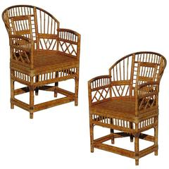 """Set of Two """"Brighton"""" Tiger Bamboo Armchairs"""