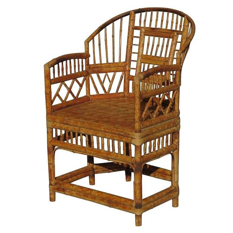 "Restored ""Brighton"" Tiger Bamboo Armchair"