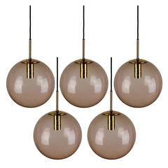 Four 1970s Spherical Smoked Glass Globe Pendant Lights by Glashütte Limburg