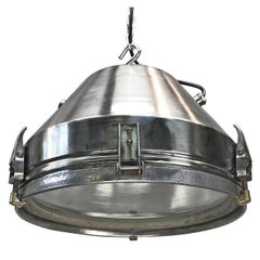 Mid-Century VEB GDR Iron and Aluminium Pendant Glass Lens and Target Grill