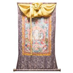 Tibetan Thangka Painting of Bodhisattva Manjusri