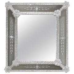 Murano Venetian Floral Etched Wall Mirror