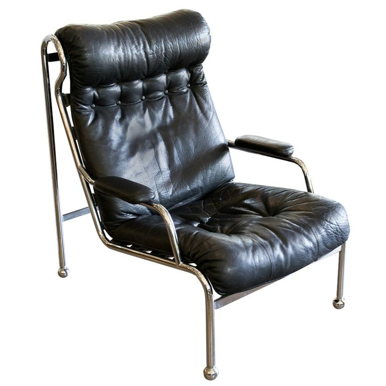 High Back Black Leather & Chrome Lounge Chair Attributed to Arne Norell c. 1970