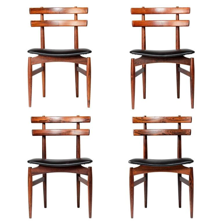 Set Of Four Danish Dining Chairs In Rosewood By Poul