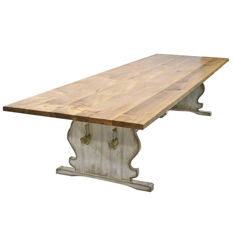 Custom Gustavian Style Dining Table with Painted Trestle Base & Maple Top