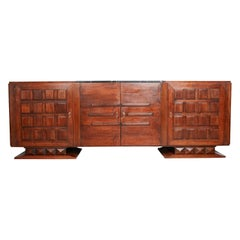 Black Marble, Bronze and Walnut French Art Deco Credenza by Gaston Poisson