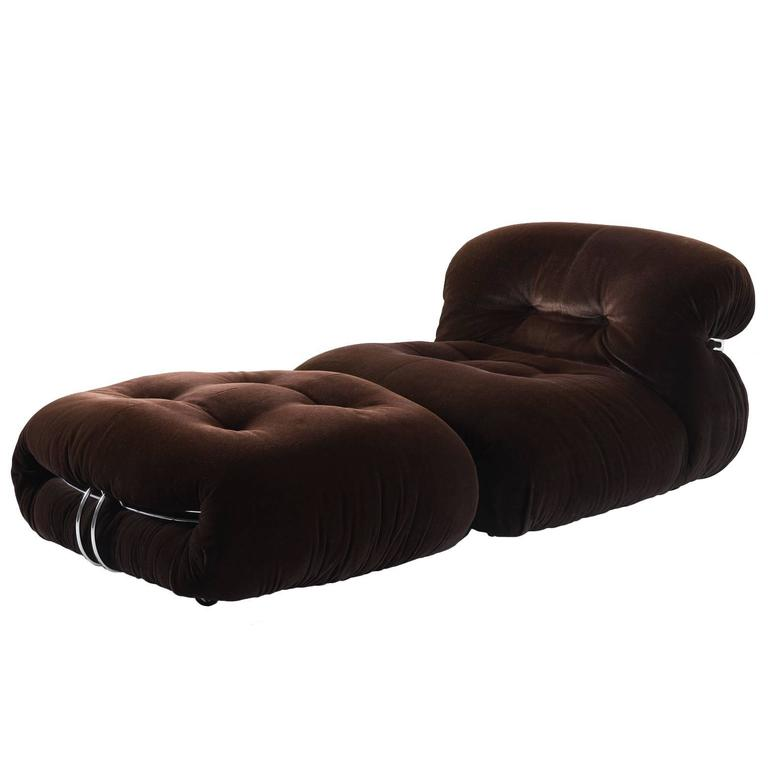 Afra & Tobia Scarpa 'Soriana' Lounge Chair and Ottoman For Sale