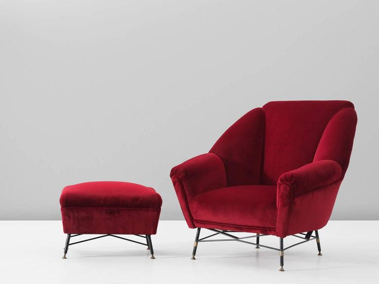 Marvelous Italian Red Velvet Lounge Chair With Accompanying Ottoman Gmtry Best Dining Table And Chair Ideas Images Gmtryco