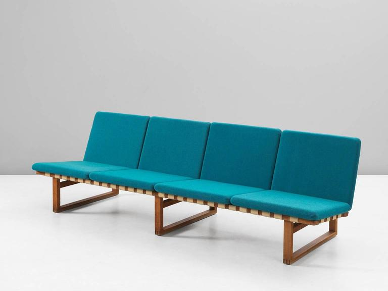 Borge Mogensen Early Four Seat Sofa With Petrol Blue Upholstery At