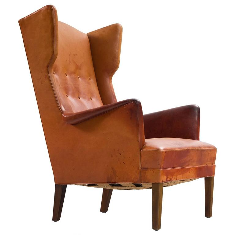 Frits Henningsen wingback lounge chair, 1950s