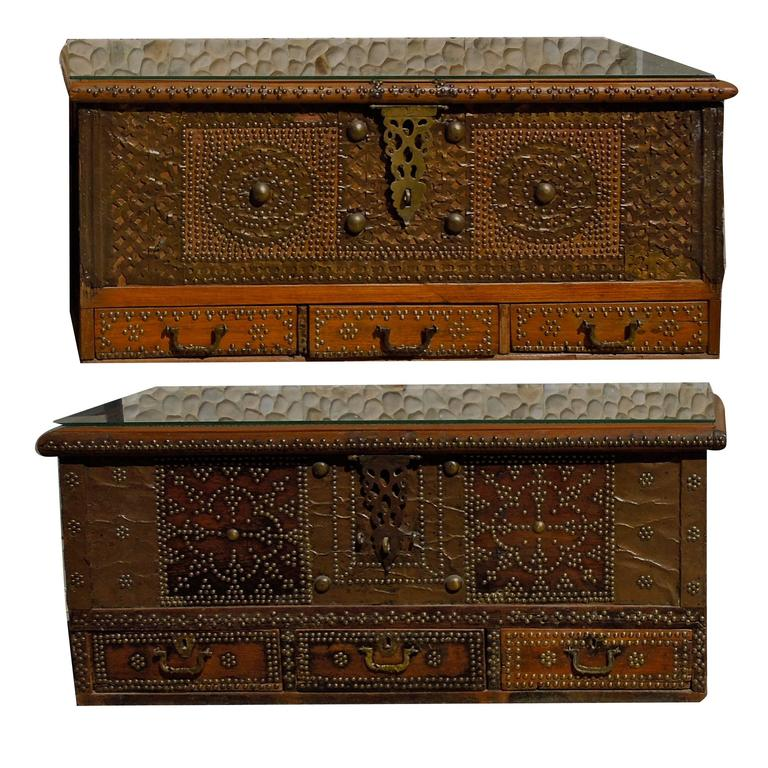 Pair of Celebrity Owned Rare 19th Century Zanzibar Chests, Nightstands 1