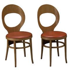 Baumann Bentwood and Vinyl Bistro Chairs, circa 1970