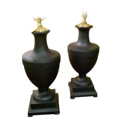 Pair of American Mid Century Black Urn Lamps