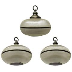 Set of Three Holophane Ceiling Lights circa 1950 Made in USA