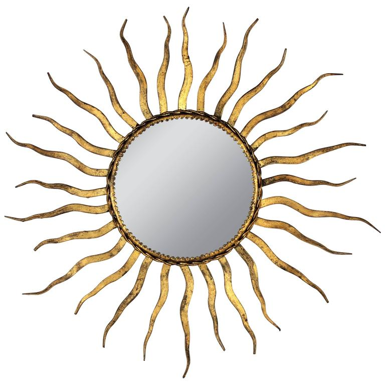 French Wrought Iron Sunburst Mirror in the Style of Gilbert Poillerat 1