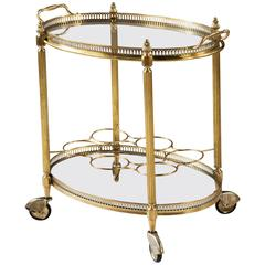 Mid-Century Polished Brass Cocktail Drinks Trolley, Bar Cart