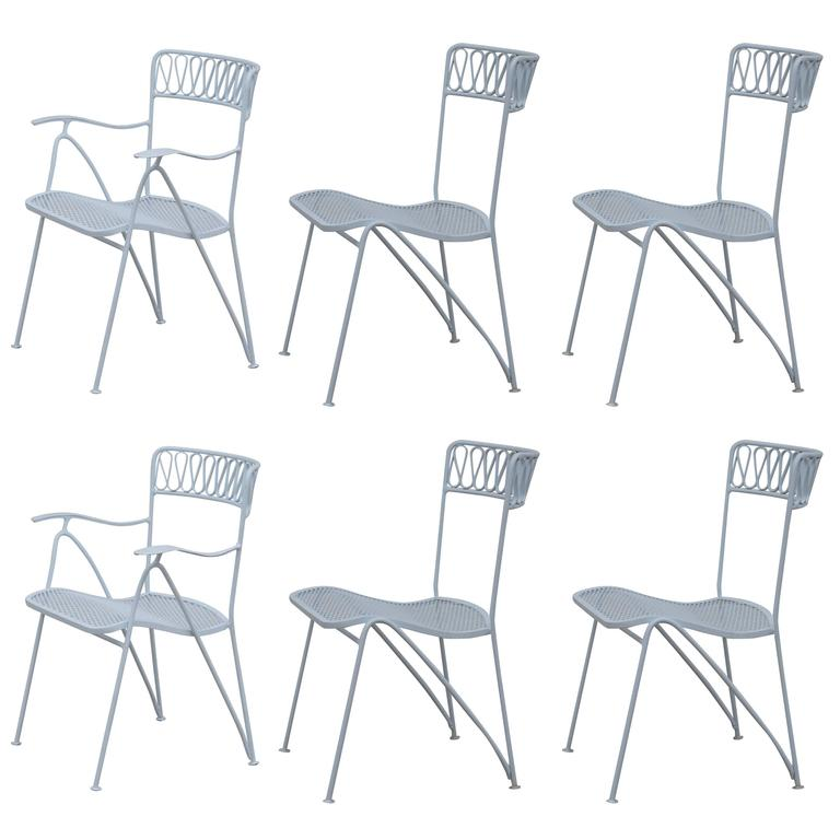 Set of Six Outdoor Indoor Dining Chairs by Maurizio Tempestini for Salterini For Sale