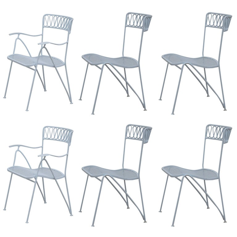 Set of Six Outdoor Indoor Dining Chairs by Maurizio Tempestini for Salterini