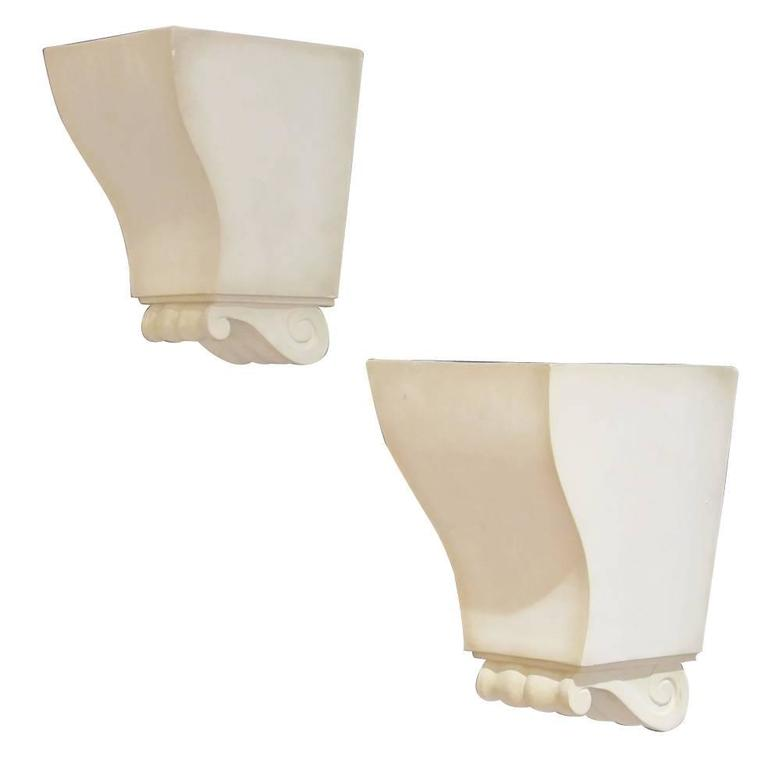 Wall Sconces Plaster : Important Pair of Plaster Wall Sconces by Jean-Charles Moreux For Sale at 1stdibs