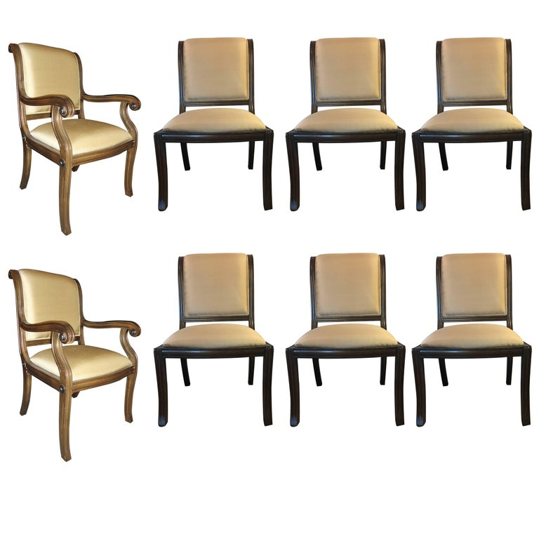 Set of Eight (two-arm and a set of six chairs)Sabre Leg Sleigh Back Dining Chair
