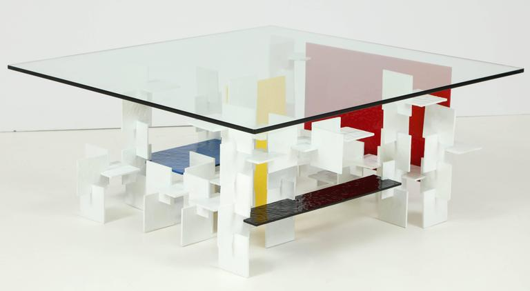 Fran Taubman Prototype Coffee Table, Multi-Colored Hammered Aluminum, 2012 2