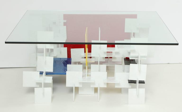 Fran Taubman Prototype Coffee Table, Multi-Colored Hammered Aluminum, 2012 4