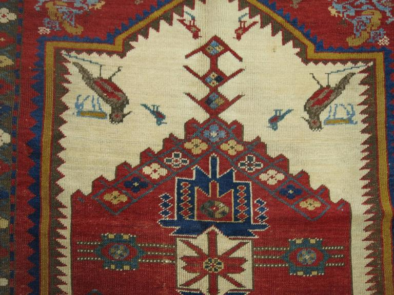 Antique Pictorial Kazak Rug Collector Level For Sale At