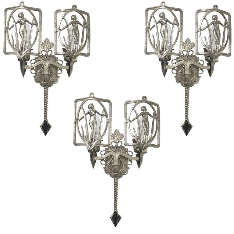 Set of Three American Art Deco Sconces