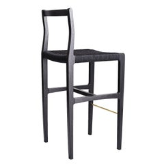 Giacomo Bar Chair/Bar Stool Ebonized Ash, Black Danish Cord, Brass Footrest