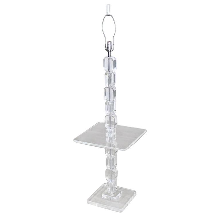 Lucite Floor Lamp Side Table For Sale