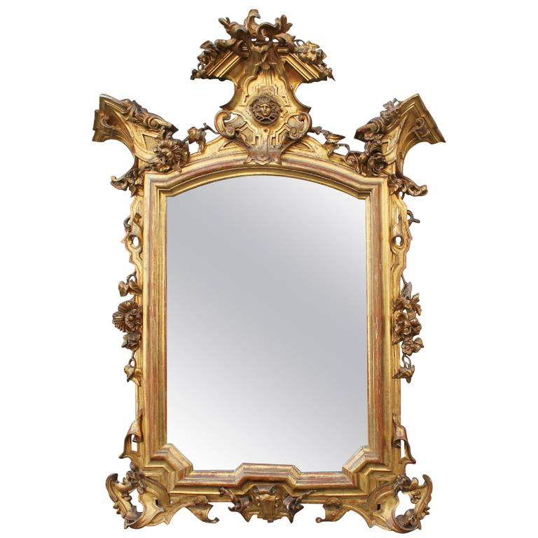 italian baroque mirror in gilded carved wood 19th century