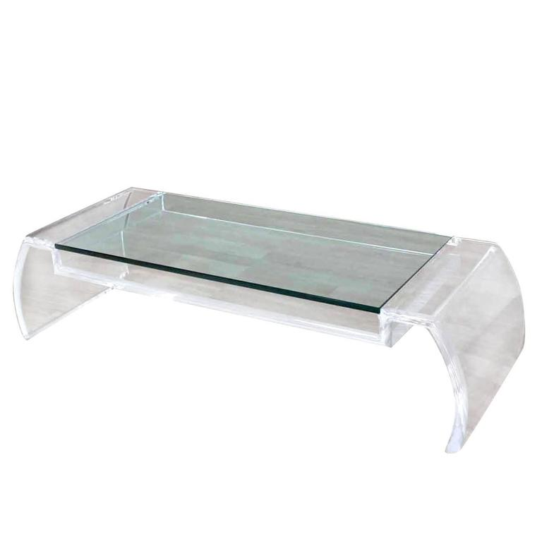 Artist Signed Sculptural Lucite Mid Century Modern Coffee Table Glass Top