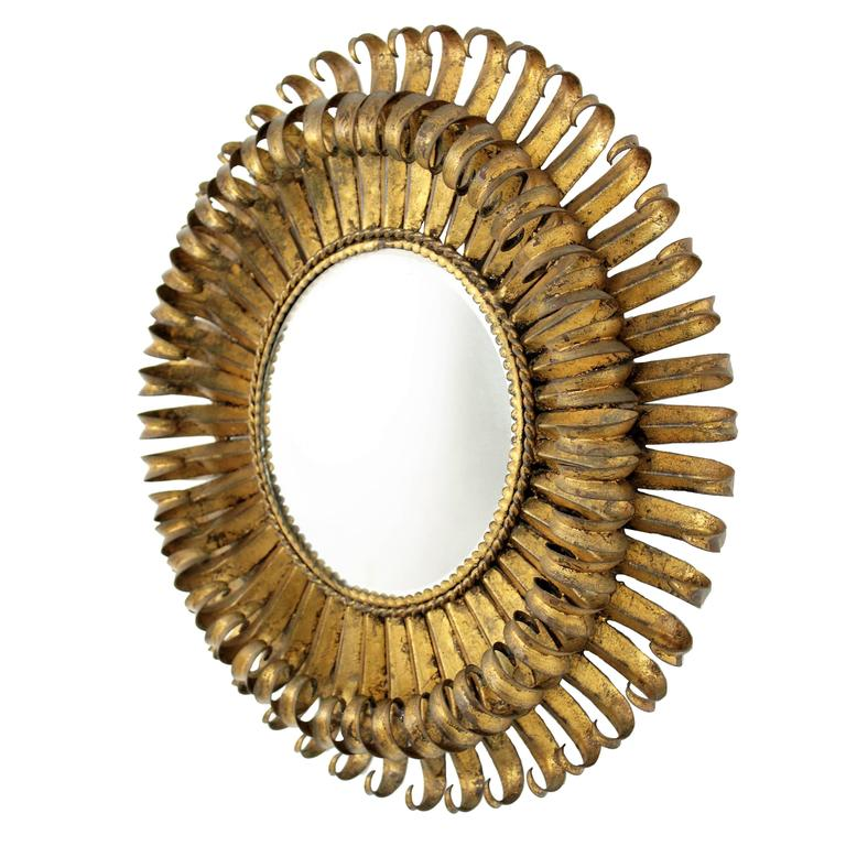 French 1950s Gilt Metal Hand-hammered Eyelash Round Sunburst Mirror