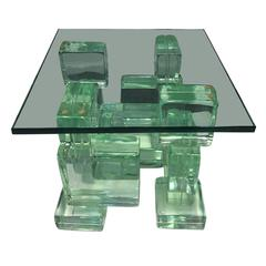 Incredible Italian Ice Glass Cube Side Table or Center Table