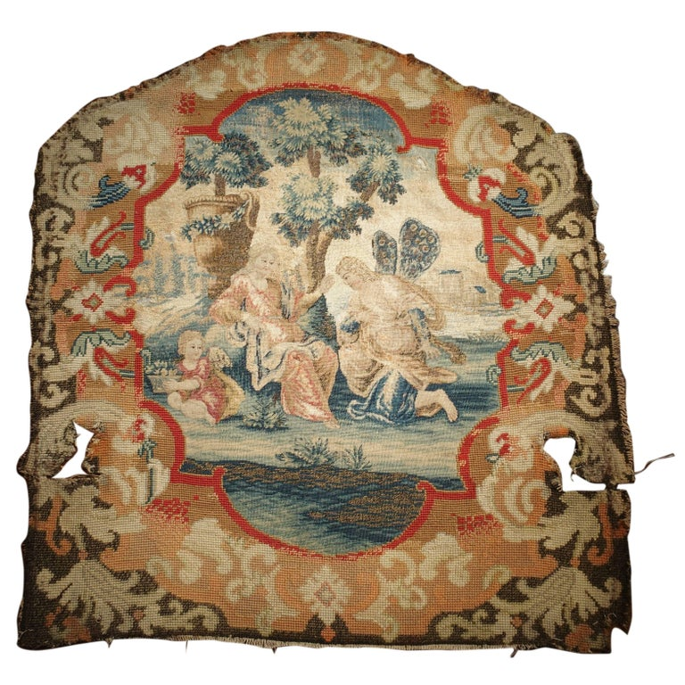 Rare 17th Century French Scenic Silk Tapestry with Needlepoint Border Chair Back