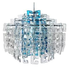 1960s Italian Interlocking Blue and Clear Murano C Link Chandelier by Mazzega