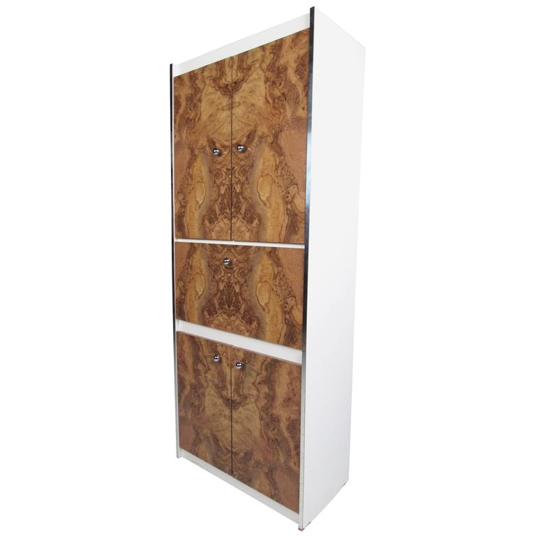 Mid-Century Modern Burl Wood Front Armoire Cabinet in the Style of Milo Baughman